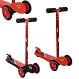 iScoot Official Ferrari© Edition Light Weight 3 Wheel Tilt and Turn Folding Kick Scooter T-Bar Bobbi Board for Boys / Girls / Children / Kids - Ages 2-5 - Red