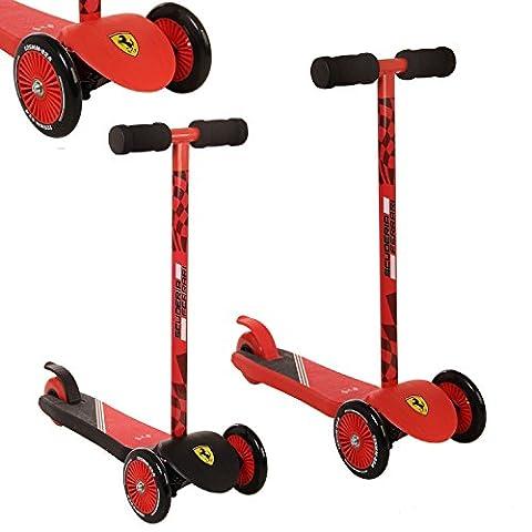 iScoot Official Ferrari© Edition Light Weight 3 Wheel Tilt and Turn Folding Kick Scooter T-Bar Bobbi Board for Boys / Girls / Children / Kids - Ages 2-5 - Red