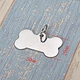 HOUSWEETY Knochen Personalisiert Haustier ID Tag Hund Tag MIT Gravur Service Hundemarke Anhaenger aus Edelstahl 29mmx50mm,Silber - 3