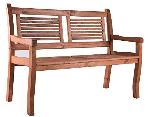 BOMI 2 Sitzer Gartenbank Holz Siena massiv | Holzbank mit Lehne Kirschbaum wetterfest 120cm | Sitzbank Garten Parkbank Balkonbank Blumenbank