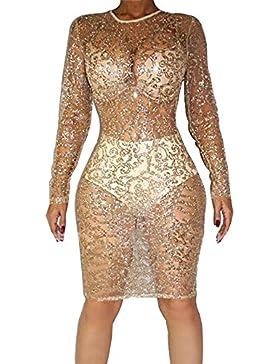 BOZEVON Ropa Interior Mujer, Sexy Lingerie Sequins Perspective Sexy falda