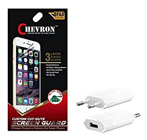 Chevron Ultra Clear HD Screen Guard Protector For Micromax A63 Canvas Fun With USB Mobile Wall Charger