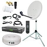 HB-DIGITAL Sat-Komplett-Set: Mini Sat Anlage 40cm Schüssel Hellgrau + LNB 0,1 + 10m Kabel + Receiver + Alu Stativ 150cm für HDTV geeignet