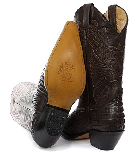 Bottes homme Western Cowboy cuir véritable bouts pointus noir marron style crocodile Marron