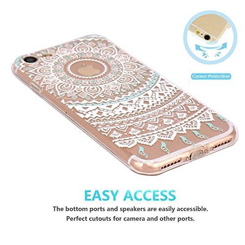 iPhone 6 Case, Walmark Beautiful Clear TPU Soft Case Rubber Silicone Skin Cover for iPhone 6 4.7 inch inch - White Mint Tribal Mandala