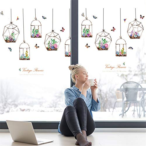 ELGDX Wandaufkleber Hängende Körbe Topf Kaktus Pflanzen DIY Glas Fenster Abnehmbare Aufkleber Hintergrund Wohnkultur