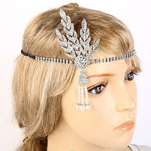 Kostüm Engel Vintage - TSEINCE Vintage Braut Kopfschmuck Kostüm Haarspangen Flapper inspiriert Blatt Medaillon Perle Stirnband Haarschmuck Silber