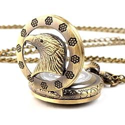 UNIQUEBELLA Pocket watch-Quartz-Men/ Women/ Children-Vintage-Alloy Chain/Necklace-A5-RA0019-Bronze Eagle
