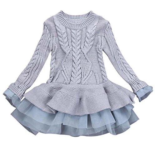(Mädchen Gestrickt Sweatshirt Winter Pullovers Hirolan Kinder Häkeln Tutu Kleid Tops Kleider (140cm, Grau))