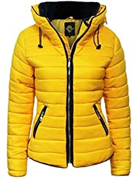 Womens Ladies Quilted Padded Coat Bubble Puffer Jacket Fur Collar Hooded Thick [Mustard Yellow, UK XL]