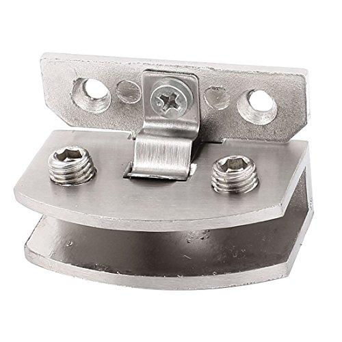 Sourcingmap® Porte de salle de bain en acier inoxydable Pince clip Charnière pour 6–8mm Verre épais