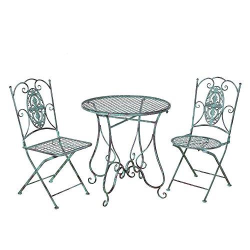HS-Lighting 3tlg.Gartenset Metall Bistroset Balkonset Gartentisch mit 2 Stühle Sitzgruppe für...