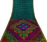 Vintage indische reine Seide blau Sari Tye Dye Printed