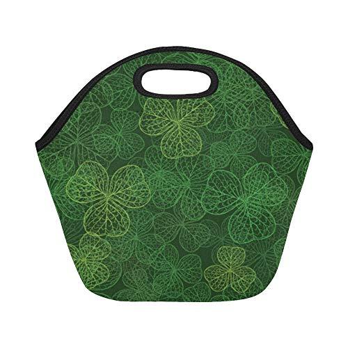 Isolierte Neopren-Lunchtasche, Kleeblatt mit drei Blättern, dunkelgrün, große Größe, wiederverwendbar, Thermo-Lunch-Boxen für Outdoor, Arbeit, Büro, Schule