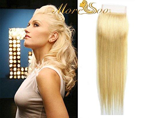Moresoo 4*4 pouces Humain Cheveux Top Lace Closure 100% Naturel Vierge Bresilien Cheveux Closure 613# Bleach Blond Free Part Raides Lisse 16\\