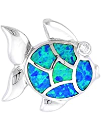 "Revoni Sterling Silver Fish Slide / Pendant, Inlaid w/ Lab Opal 7/8"" (23 mm) wide,"