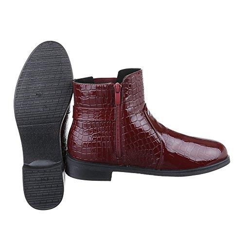 Ital-Design Chelsea Boots Damen Schuhe Chelsea Boots Blockabsatz Leicht Gefütterte Reißverschluss Stiefeletten Weinrot