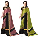 Art Decor Sarees Cotton Saree with Blouse Piece (Pack of 2) (Combo Ashi Peach Black & Lime black_Multicolor_Free Size)