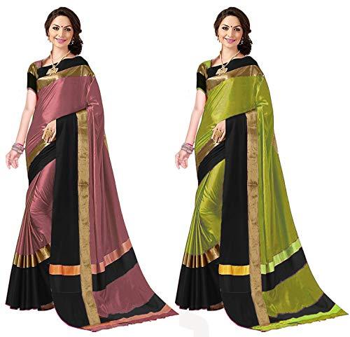 ANNI DESIGNER Cotton Saree with Blouse Piece (Pack of 2) (Combo Ashi Peach Black & Lime black_Multicolor_Free Size)