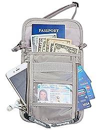 Hopsooken RFID Pochettes tour de cou de Voyage Portefeuille Passeport Organisateur