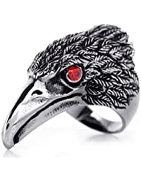 JewelryWe New Stainless Steel Hawk Eagle Ring, Mens Biker Engagement Wedding Band Black Silver Tone (with Gift Bag)