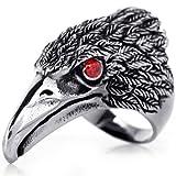 JewelryWe Schmuck Biker Herren-Ring, Edelstahl, Retro Adler Falke, Schwarz Silber Größe 67