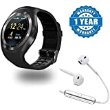 Captcha Y1 Smart Watch Bluetooth Watch Support SIM Card Slot With S6 Wireless Stereo Earphones V4.1 With Mic Compatible With Xiaomi, Lenovo, Apple, Samsung, Sony, Oppo, Gionee, Vivo Smartphones (One Year Warranty)