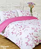 Stephanie Reversible Pink / White Butterfly Double Bed Size Duvet Cover Set