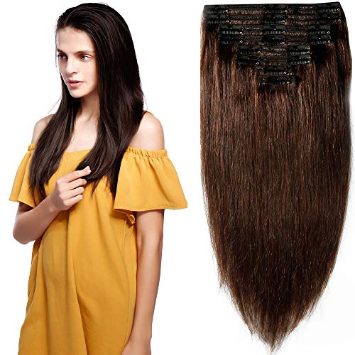 40cm-55cm Clip in Extensions Set 100% Remy Echthaar 8 Teilig 130g-160g Haarverlängerung dick Dopplet Tressen Clip-In Hair Extension (50cm-150g, Nr.2 dunkelbraun)