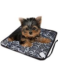 mascotas perros accesorios deportiva perros cama de perrito almohadilla caliente Sannysis Almohadillas térmicas eléctricas ajustable a prueba de agua Manta Mat Cama para perro, 45cm*45cm, negro flor
