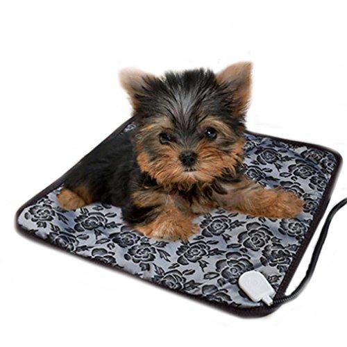 Foto de mascotas perros accesorios deportiva perros cama de perrito almohadilla caliente Sannysis Almohadillas térmicas eléctricas ajustable a prueba de agua Manta Mat Cama para perro, 45cm*45cm, negro flor