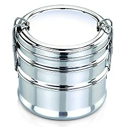 Pigeon Clipper Stainless Steel Tiffin Box Set, 3-Pieces, Silver