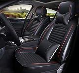 Ededi Lusso Pelle Set Coprisedili per Auto, Universale Impermeabile Cuscino del Seggiolino Auto Protezioni, 9 pezzi (Colore : Black+Red)