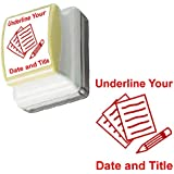 Underline Your Date and Title - Teacher Stamp - Self-Inking, Red Ink
