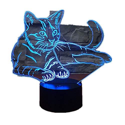 3D Night Light Pet Cat/Lampada 3D Night Illusion Nightlights/Touch Switch Lampada da comodino / 7 colori che cambiano Lampade Led/Regali di compleanno3D