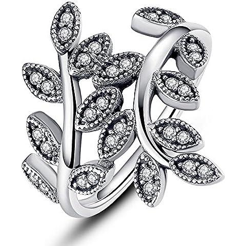 Jade de Ángel de plata de ley con Zircon cúbico de hojas parapavimentar claro estilo de la vendimia de la joyería del anillo