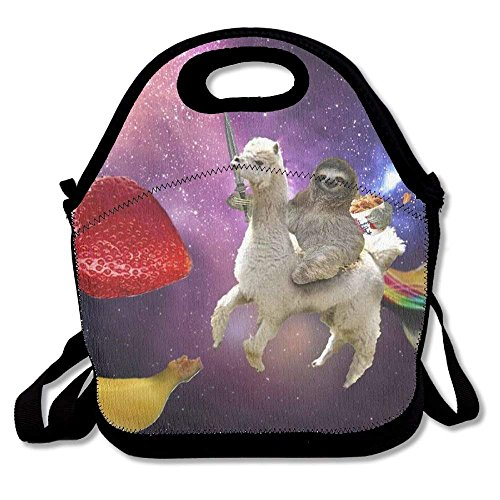 Funny Sloth Riding Llama Cut Fruit Lunch Bags Insulated Travel Picnic Lunchbox Tote Handbag with Shoulder Strap for Women Teens Girls Kids Adults - Adult Boy Cut
