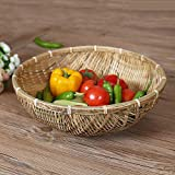 Househome Cesta Picnic Hecho en la Mano, cestas de bambú Hechas a Mano Naturales Frutas Verduras-Frutero