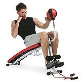 Ancheer Klappbare höhenverstellbare Sit-up Bank Bauchtrainer Rückentrainer Hantelbank mit Boxbirne Punching
