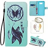 Coque Samsung Galaxy S8 Case Wallet Phone Stand Cover with Credit Card Slots Flip Protective Case For Samsung Galaxy S8 -photo Frame Keychain (U/7)