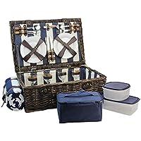 HappyPicnic - Cesta de mimbre para picnic con servicio de lujo para 4 personas, cesta de mimbre natural, juego de picnic de sauce con enfriador de alimentos, manta de forro polar y vajilla (azul marino/blanco)