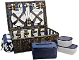 HappyPicnic Fitted Willow Picknickkorb mit Deluxe-Service für 4 Personen, Picknickkorb aus Naturgeflecht, Willow Picknickset mit Essenskühler, Fleecedecke und Geschirr (Navy Blue / White)