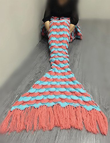 """Handgefertigt Strick Meerjungfrau Schwanz Decke, Mermaid Crochet Decke für Erwachsene, All Season Schlafsack 71"""" x 35"""" (180× 90cm) (Orange)"""