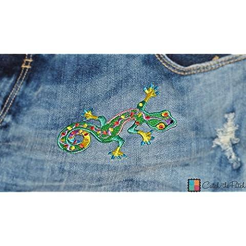 Salamandra del Salamander amuleto de la suerte afortunado Colores Hippie feliz Patch '9.4 x 6 cm' - Parche Parches Termoadhesivos Parche Bordado Parches Bordados Parches Para La Ropa Parches La Ropa Termoadhesivo Apliques Iron on Patch Iron-On