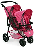 Bayer Chic 2000 689 82 Tandem-Buggy Vario, Zwillings-Puppenwagen, Sternchen pink