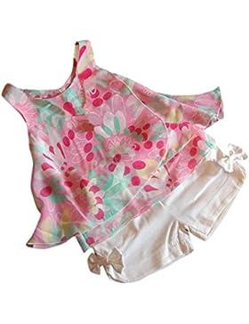 OverDose Toddler Kids Baby Girls Print T - shirt Tops + pantalones cortos Looks de ropa 2pcs set
