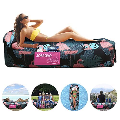 Aufblasbares Sofa, Luftsofa Outdoor Lazy Carry Tragbarer wasserdichter Schlafsack Ultraleichtes Bett mit Pillow Pool Float für Camping, Wandern, Schwimmbad, Strand, Hinterhof, Reisen (Flamingo Muster) Flamingo-muster