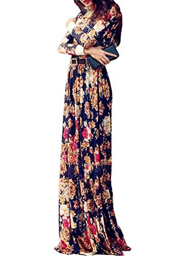 BMR New Fashion Blue Georgette Party Sexy Lady Casual Maxi Dresses