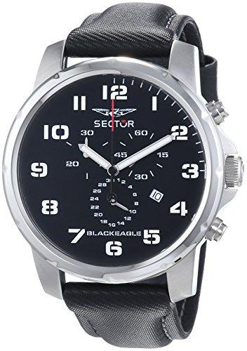 Sector - R3271689025 - Black Eagle - Montre Homme - Quartz Analogique - Cadran Noir - Bracelet Tissu Noir