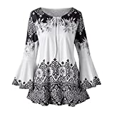 iHENGH Vorweihnachtliche Karnevalsaktion Damen Frühling Sommer Top Bluse Bequem Lässig Mode Frauen Mode Frauen Plus Size Printed Flare Sleeve Tops Blusen Keyhole T-Shirts